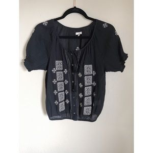 Joie black and white embroidered top